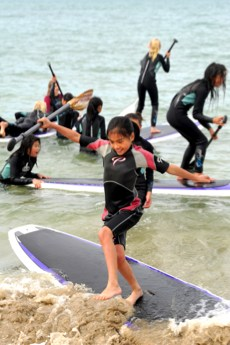 Surfing at Lord Somers Camp